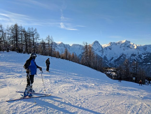 Skiing in the Alps at Hinterstoder Hoss, Austria