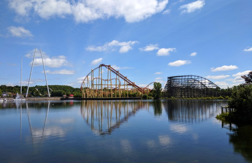 Michigan Adventure rides Thunderhawk and Wolverine Wildcat across the lagoon