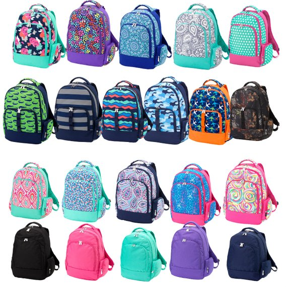 Brightly colored kids backpacks with embroidery