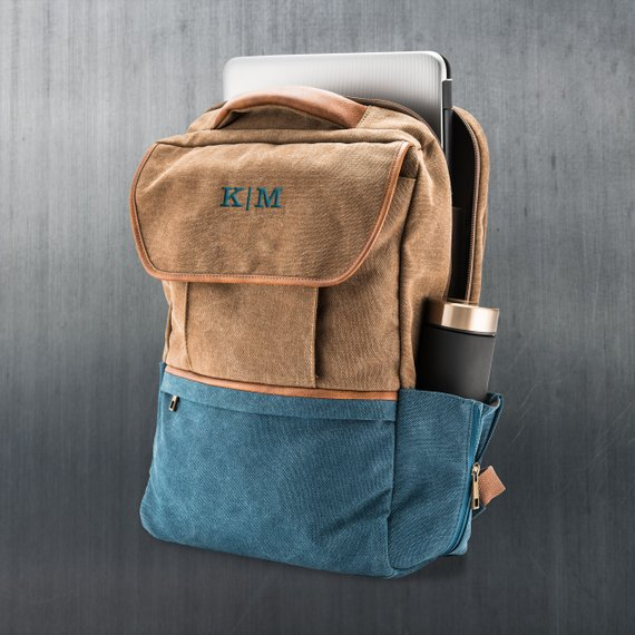 Brown and blue leather laptop bag with monogram