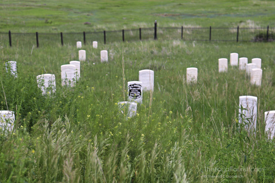 Gravestones in a field at the Little Bighorn battlefield in Montana