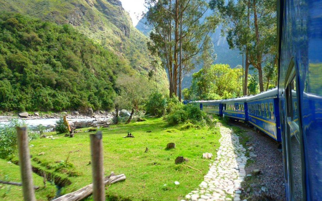 PeruRail train in the Andes Mountains