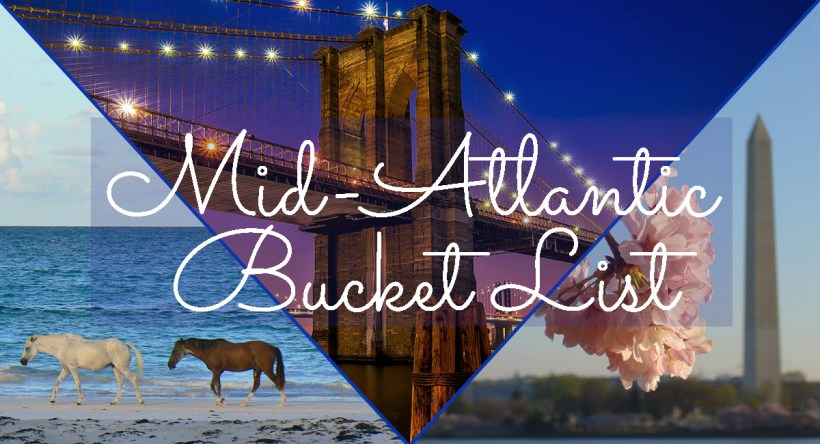 Collage of Mid-Atlantic vacation ideas with text overlay