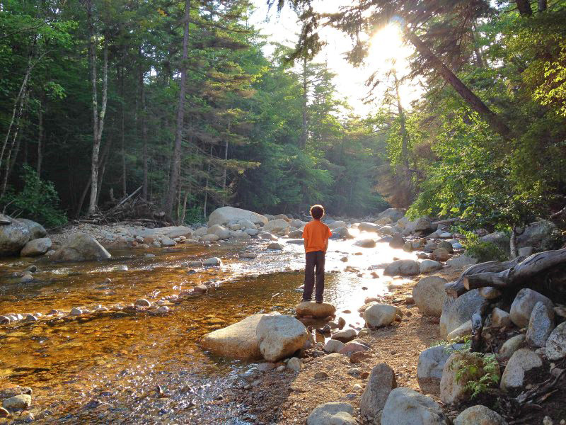 Child by a stream along the Kancamagus Highway
