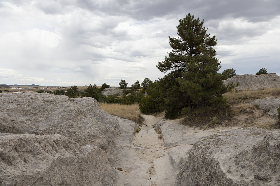 Ruts carved into stone along the Oregon Trail near Guernsey, Wyoming