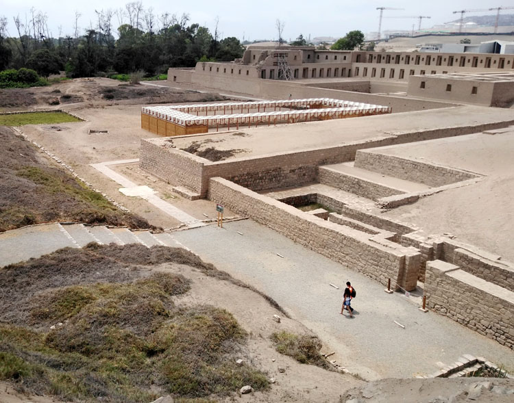 Ruins at the Pachacamac archaeological site on a day trip from Lima