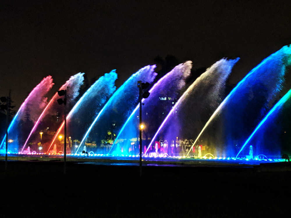 Dancing fountains during a show at the Parque de las Aguas in Lima