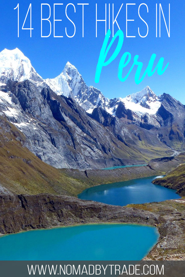 "Mountain lakes and peaks in Peru with text overlay reading ""14 best hikes in Peru"""