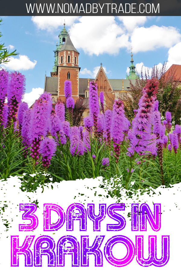 Wawel Cathedral with purple flowers and text overlay
