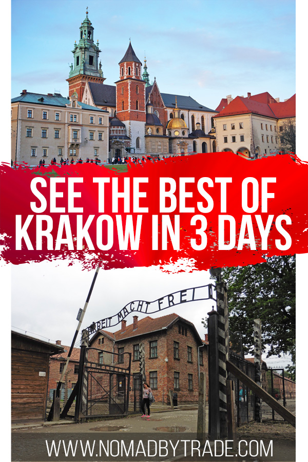 Collage with Wawel Cathedral and Auschwitz gates with text overlay