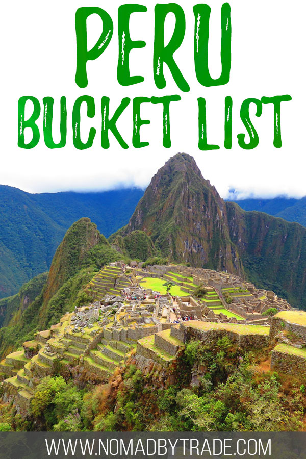 "Photo of Machu Picchu with text overlay reading ""Peru bucket list"""
