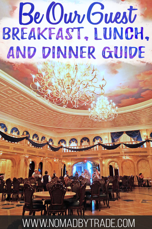 "Ballroom at Be Our Guest with text overlay reading ""Be Our Guest breakfast, lunch, and dinner guide"""