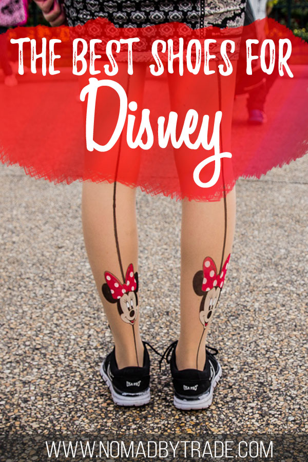 "Woman wearing shoes and Minnie Mouse tights with text overlay reading ""The best shoes for Disney"""