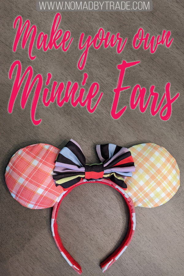 "Homemade Minnie Mouse ears with text overlay reading ""Make your own Minnie ears"""