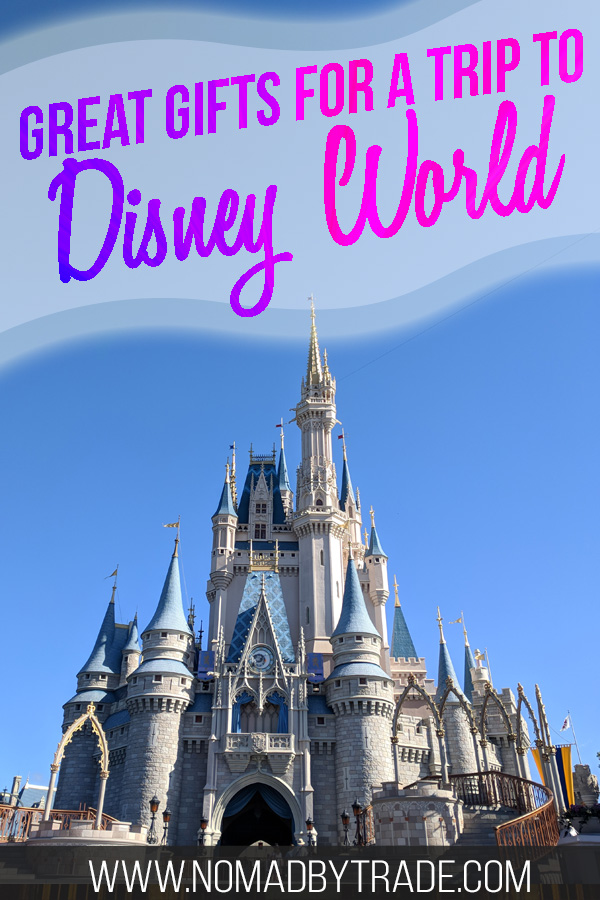 "Cinderella Castle with text overlay reading ""Great gifts for a trip to Disney World"""