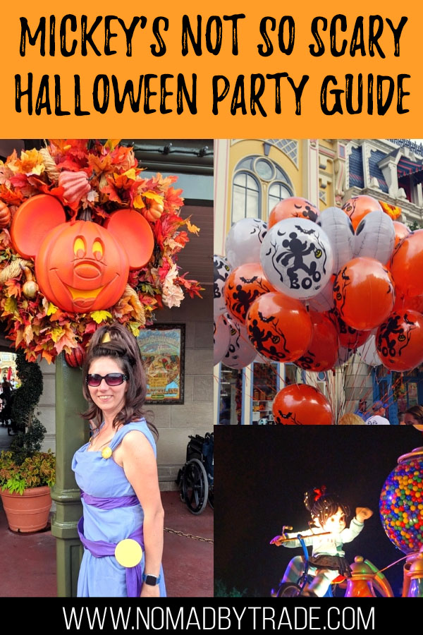 "Collage of photos from a Disney Halloween party with text overlay reading ""Mickey's Not so Scary Halloween Party Guide"""