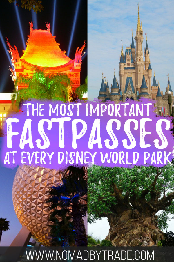 "Collage of Disney World images with text overlay reading ""The most important FastPasses at every Disney World park"""