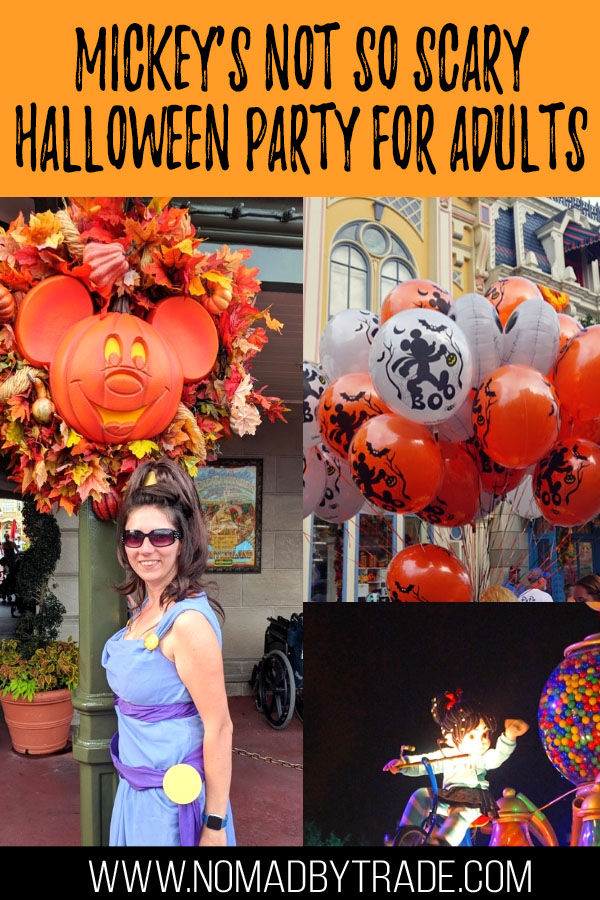 "Collage of photos from MNSSHP with text overlay reading ""Mickey's Not so Scary Halloween Party for Adults"""