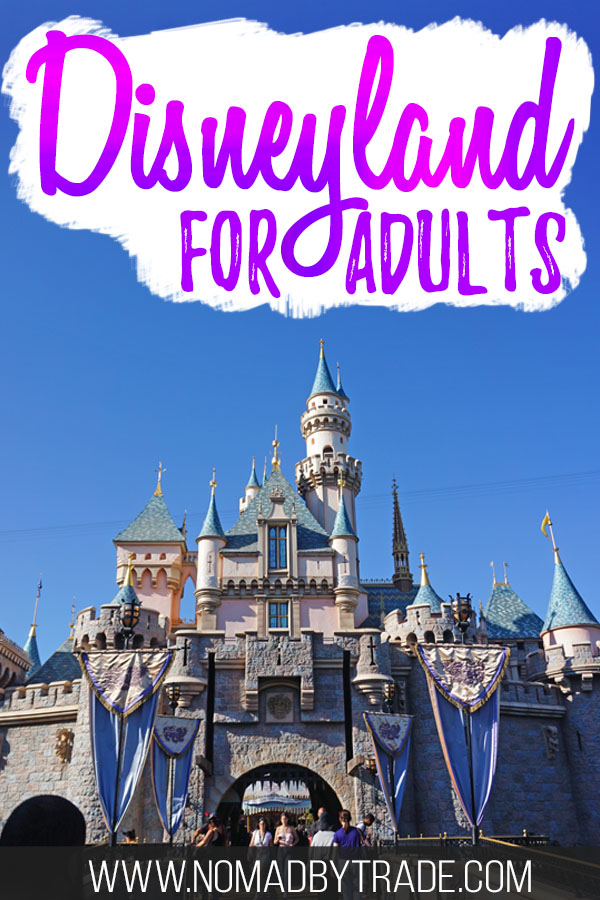 "Sleeping Beauty castle with text overlay reading ""Disneyland for adults"""
