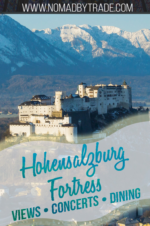 White Festung Hohensalzburg atop a mountain in Salzburg with text overlay