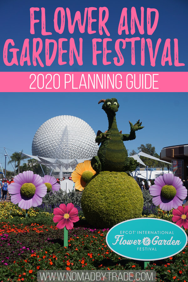 "Epcot International Flower and Garden Festival topiary with text overlay reading ""Flower and Garden Festival - 2020 Planning Guide"""