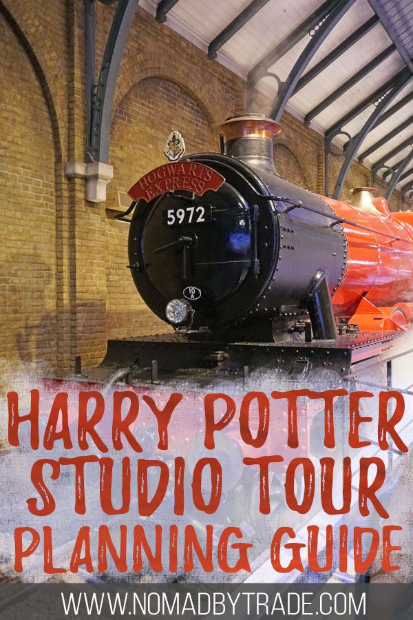 "Hogwarts Express train with text overlay reading ""Harry Potter Studio Tour planning guide"""