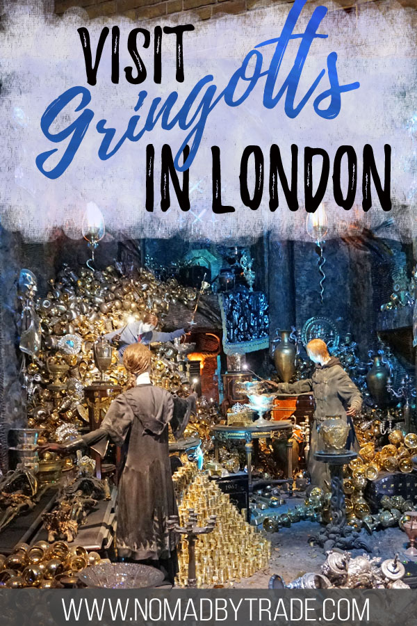 "Lestrange vault with text overlay reading ""Visit Gringotts in London"""