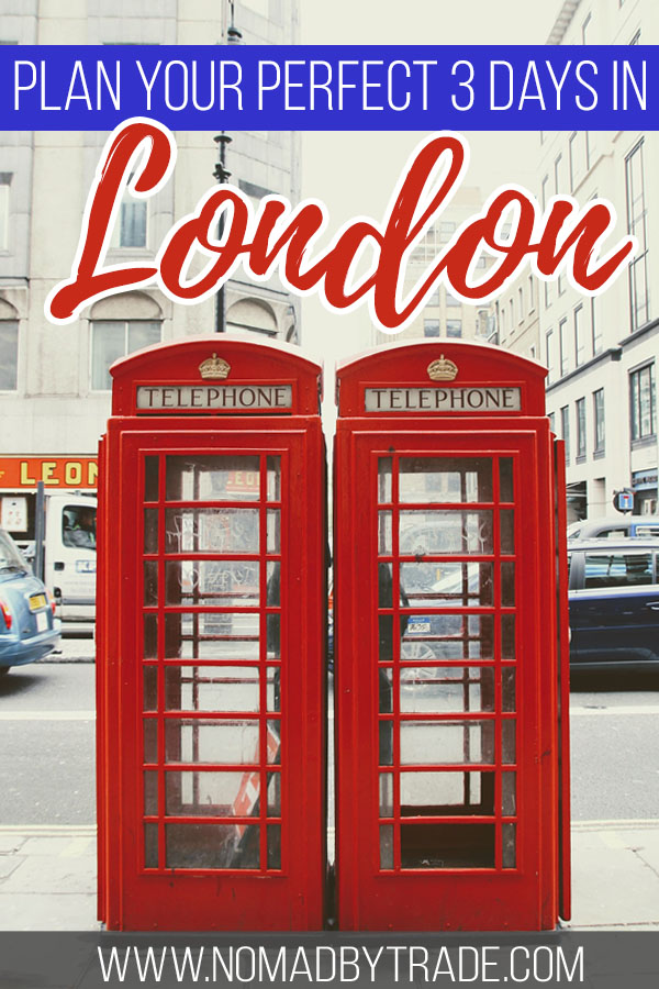 "Red phone booths in London with text overlay reading ""Plan your perfect 3 days in London"""