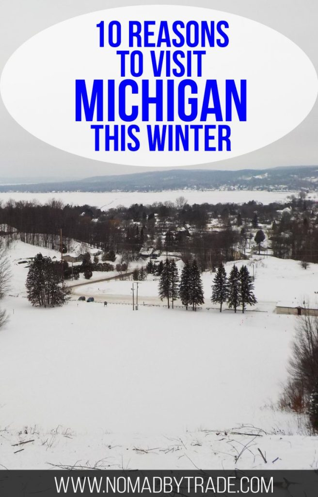 "Snowy landscape with text overlay reading ""10 reasons to visit Michigan this winter"""