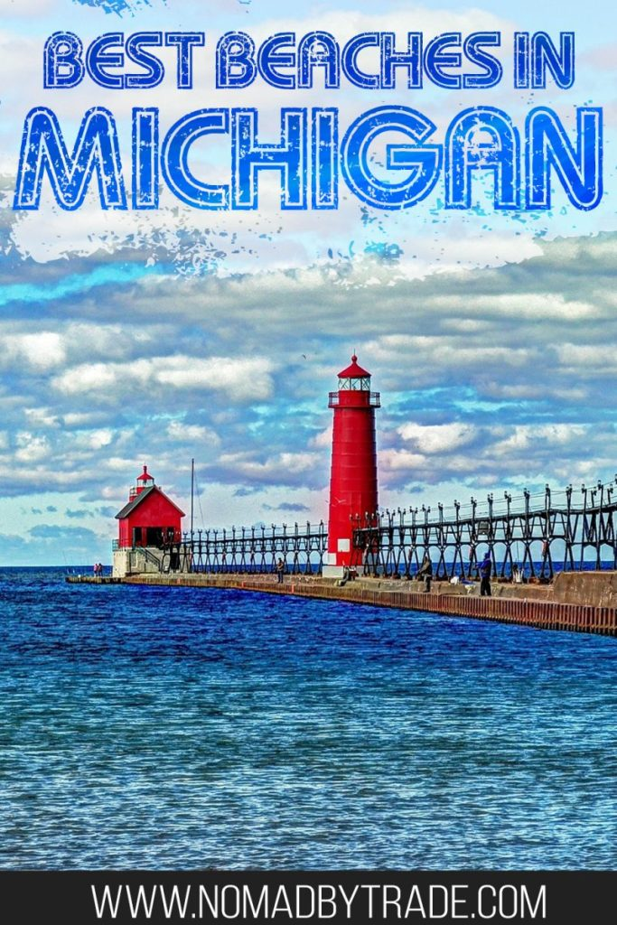 "Lighthouse amid blue waters with text overlay reading ""Best beaches in Michigan"""