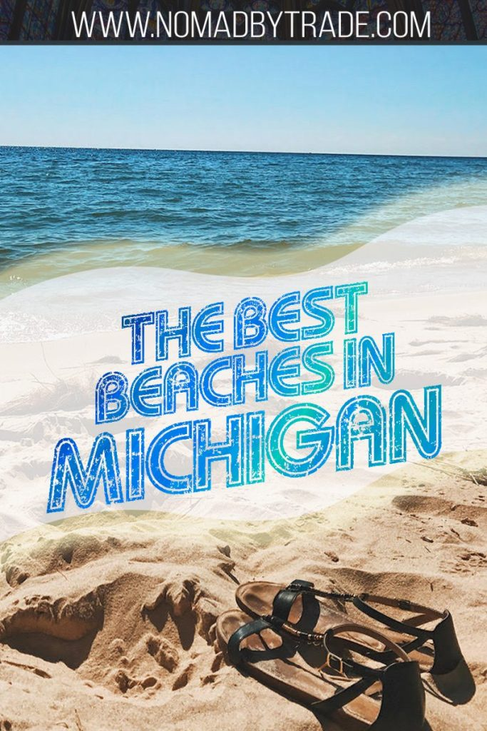 "Sandals on a beach in Michigan with text overlay reading ""The best beaches in Michigan"""