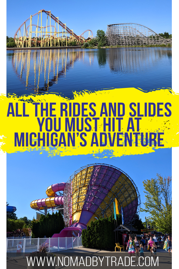 Michigan's Adventure theme park and water park is one of the best things to do in Muskegon, Michigan. Whether you like roller coasters or water slides, Michigan's Adventure is a perfect summer activity. Find out the best rides and water slides at Michigan's Adventure, one of my favorite things to do in Michigan in summer. #Michigan #PureMichigan #ThemePark #WaterSlide #RollerCoaster #USA #Summer