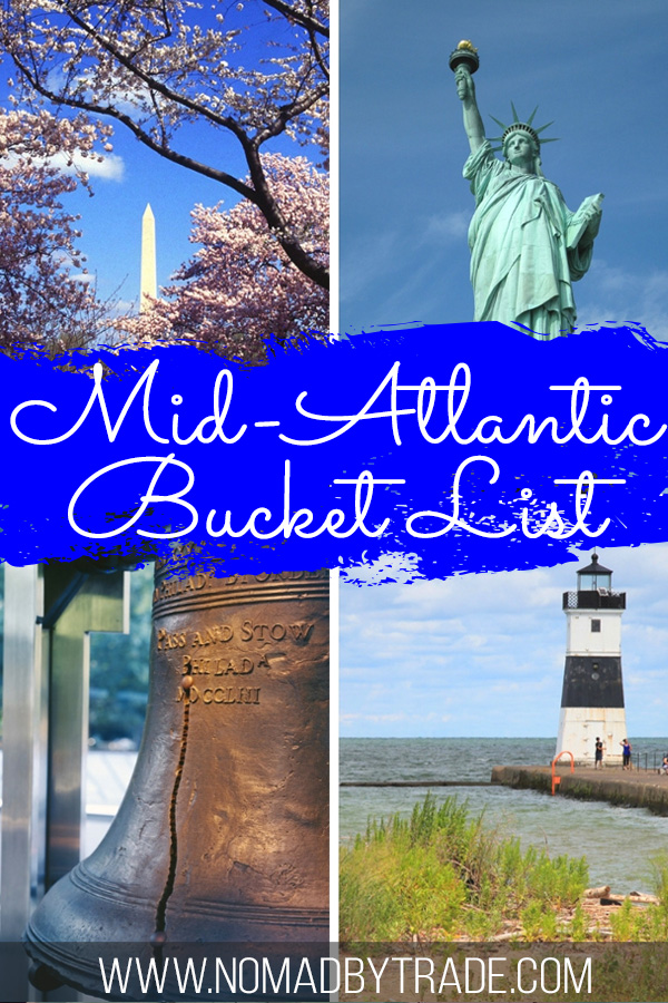 "Photo collage with text overlay reading ""Mid Atlantic Bucket List"""