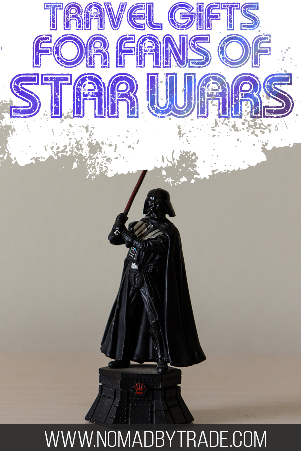 "Darth Vader action figure with text overlay reading ""Travel gifts for fans of Star Wars"""