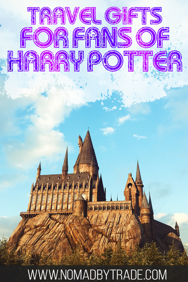 "Photo of Hogwarts with text overlay reading ""Travel gifts for fans of Harry Potter"""