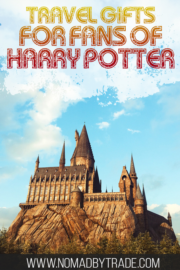 "Photo of Hogwarts with text overlay reading ""Travel gifts for fans of Harry Potter'"