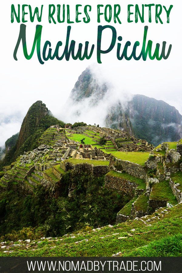 "Photo of Machu Picchu with text overlay reading ""New rules for entry Machu Picchu"""