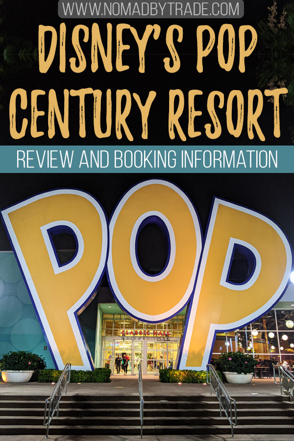 """Photo of Pop Century Resort with text overlay reading """"Disney's Pop Century Resort - Review and booking information"""""""