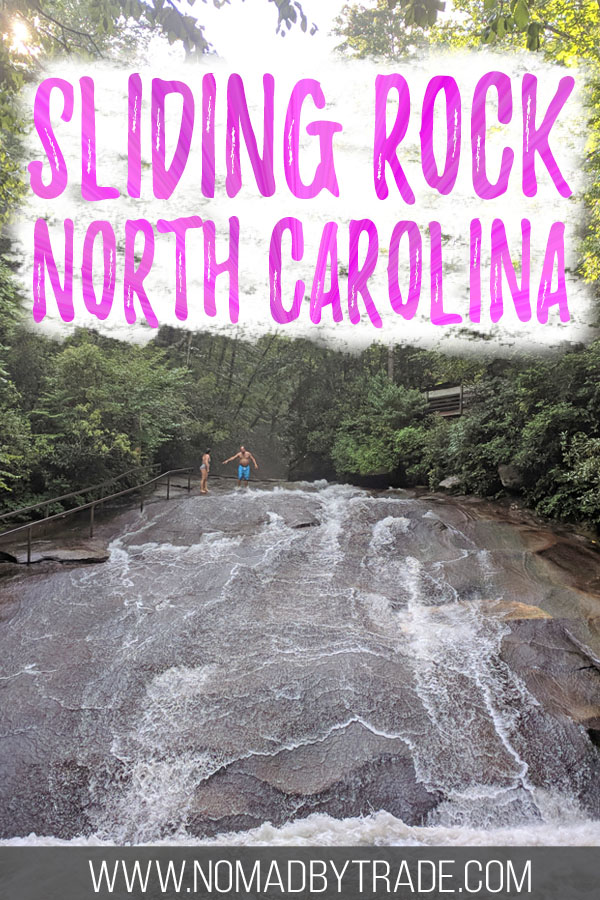 "Photo of Sliding Rock with text overlay reading ""Sliding Rock North Carolina"""