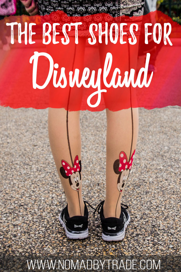 """Woman wearing shoes and Minnie Mouse tights with text overlay reading """"The best shoes for Disneyland"""""""
