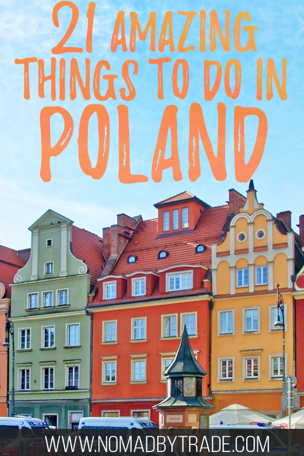 "Colorful buildings in Poznan, Poland with text overlay reading ""21 amazing things to do in Poland"""