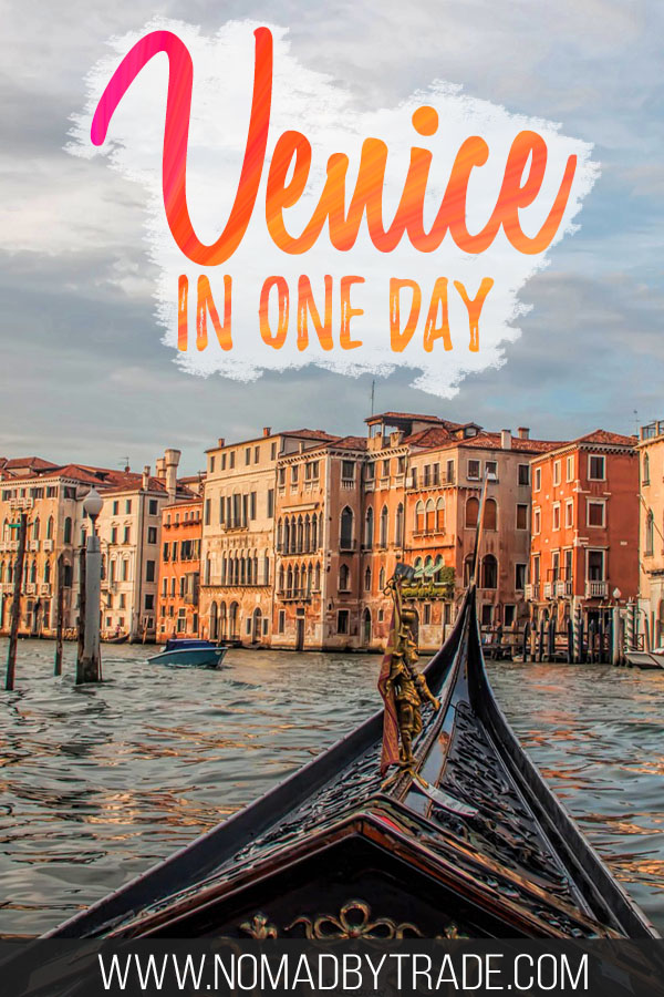 "Gondola on the Grand Canal with text overlay reading ""Venice in one day"""
