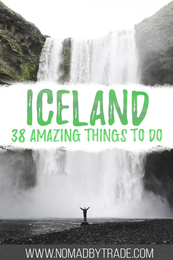 "Photo of Skogafoss with text overlay reading ""Iceland - 38 amazing things to do"""