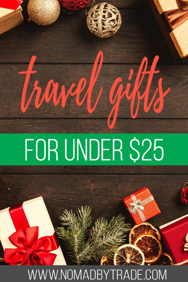 "Christmas presents and decor with text overlay reading ""travel gifts for under $25"""