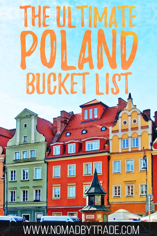 "Colorful buildings in Poznan, Poland with text overlay reading ""The ultimate Poland bucket list"""