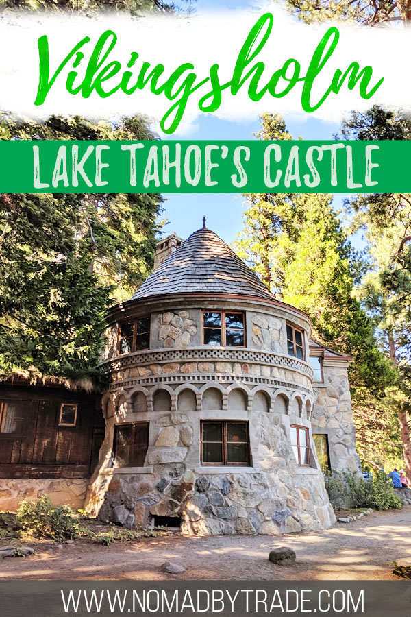 "Photo of Vikingsholm Tahoe with text overlay reading ""Vikingsholm - Lake Tahoe's Castle"""