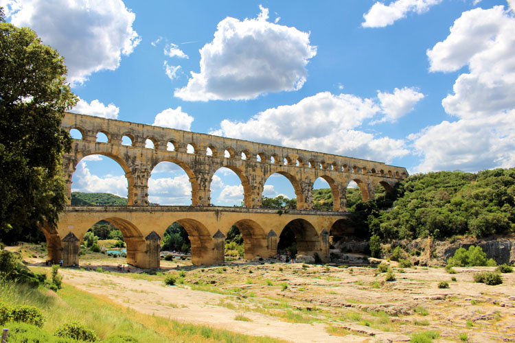 Arches of the Pont du Gard aqueduct in Nimes, France