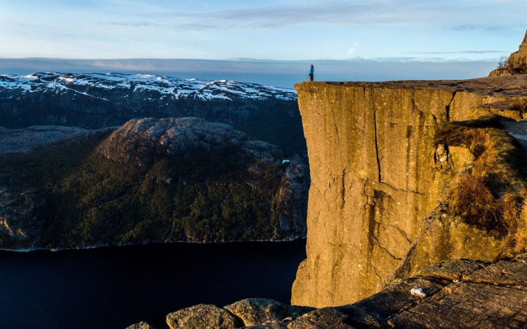 View of a person who completed the Norway Pulpit Rock hike