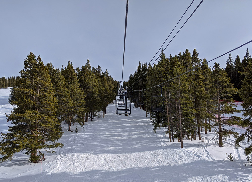View from the 10th Mountain Double Chair lift at Ski Cooper