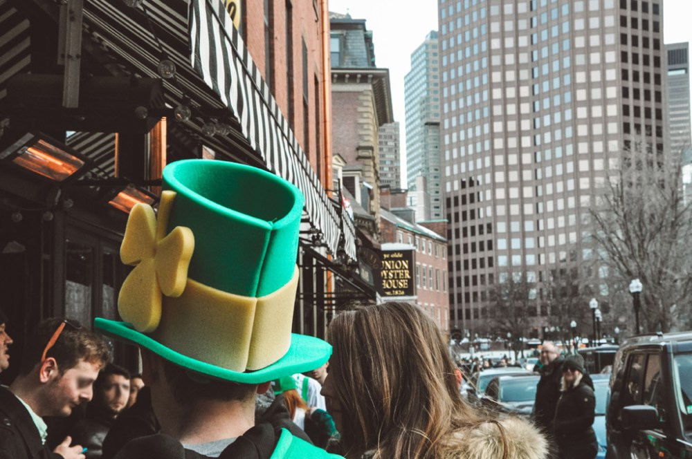 People celebrating St. Patrick's Day on a street in Boston